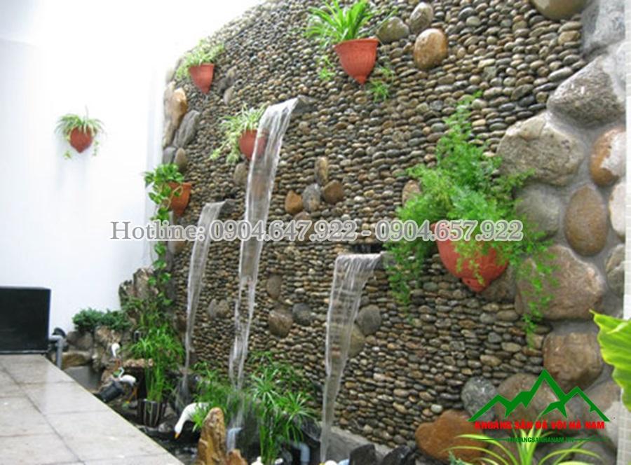 sỏi làm thác nước trên tường