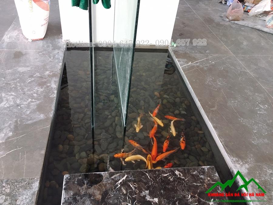sử dụng sỏi trang trí bể cá Koi