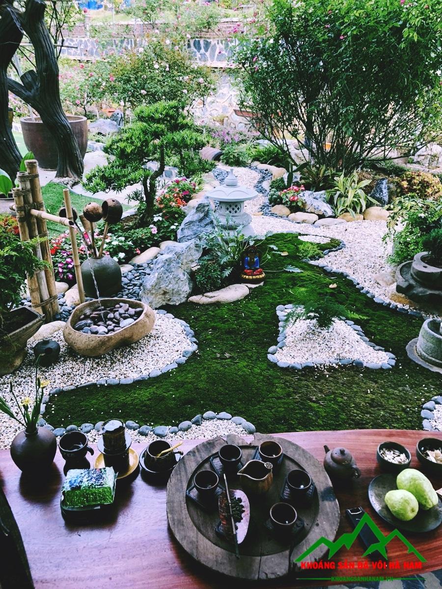 Sỏi đá trong thiết kế sân vườn