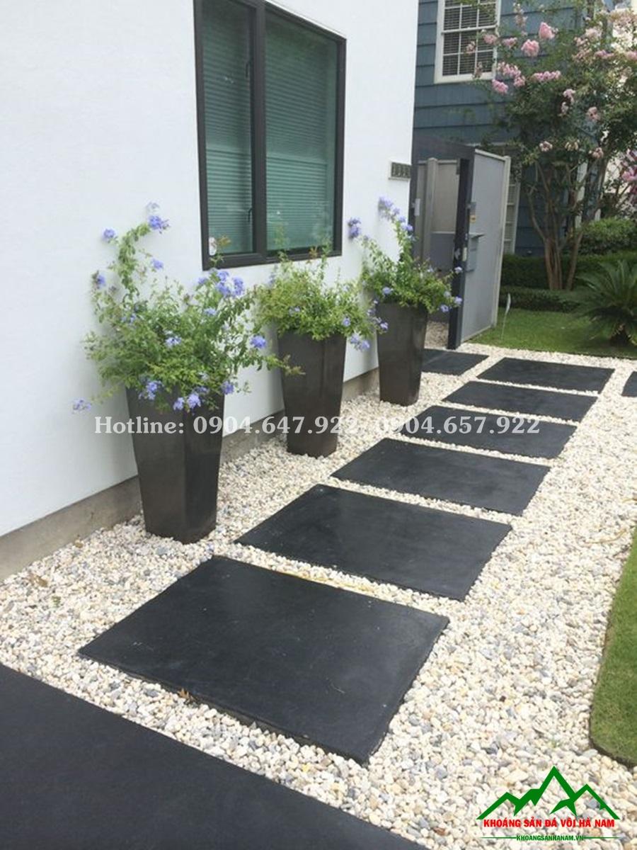 thiết kế sỏi rải sân vườn bằng sỏi biển