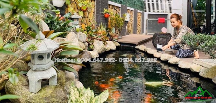 sỏi cuội tự nhiên trang trí bể cá koi