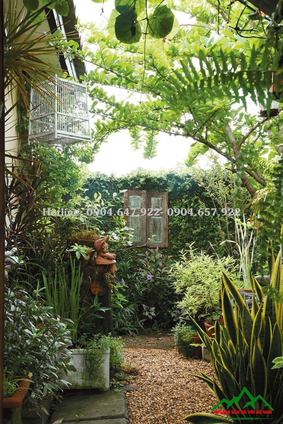 Ý tưởng về sân vườn đẹp dùng sỏi vàng