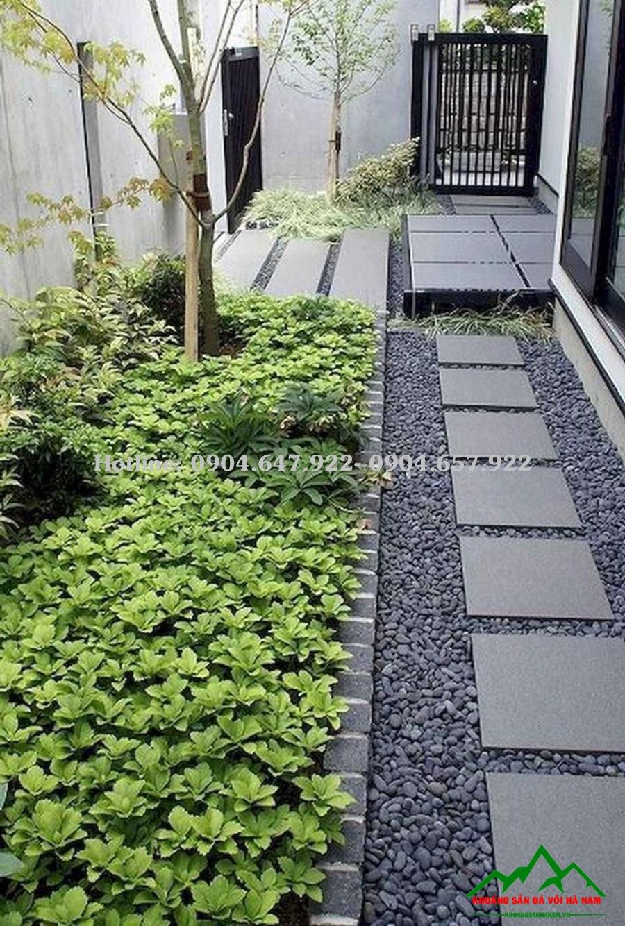 Ý tưởng về sân vườn đẹp sử dụng sỏi đen